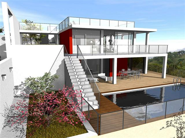 Building plot with panorama Seaviews with a possible design for a minimalistic villa, designed by, Spain