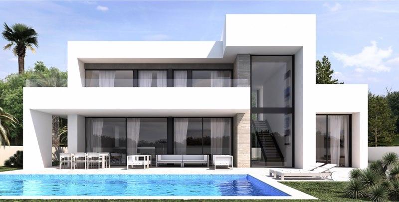 Contemporary villa under construction in Moraira Vista del Valle. On the ground floor you will fin,Spain