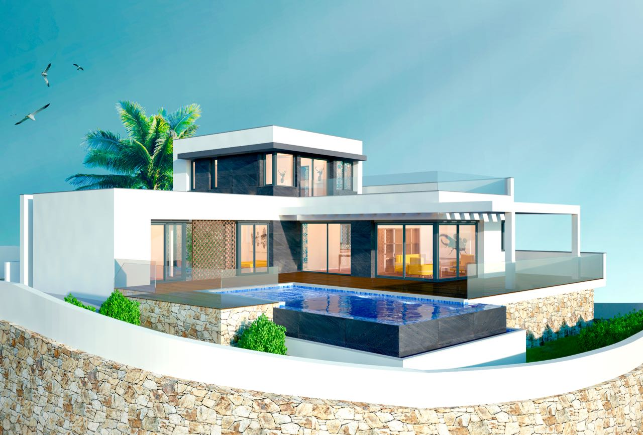 This currently under construction modern style villa is located on a 817 m² corner plot in Moraira, Spain