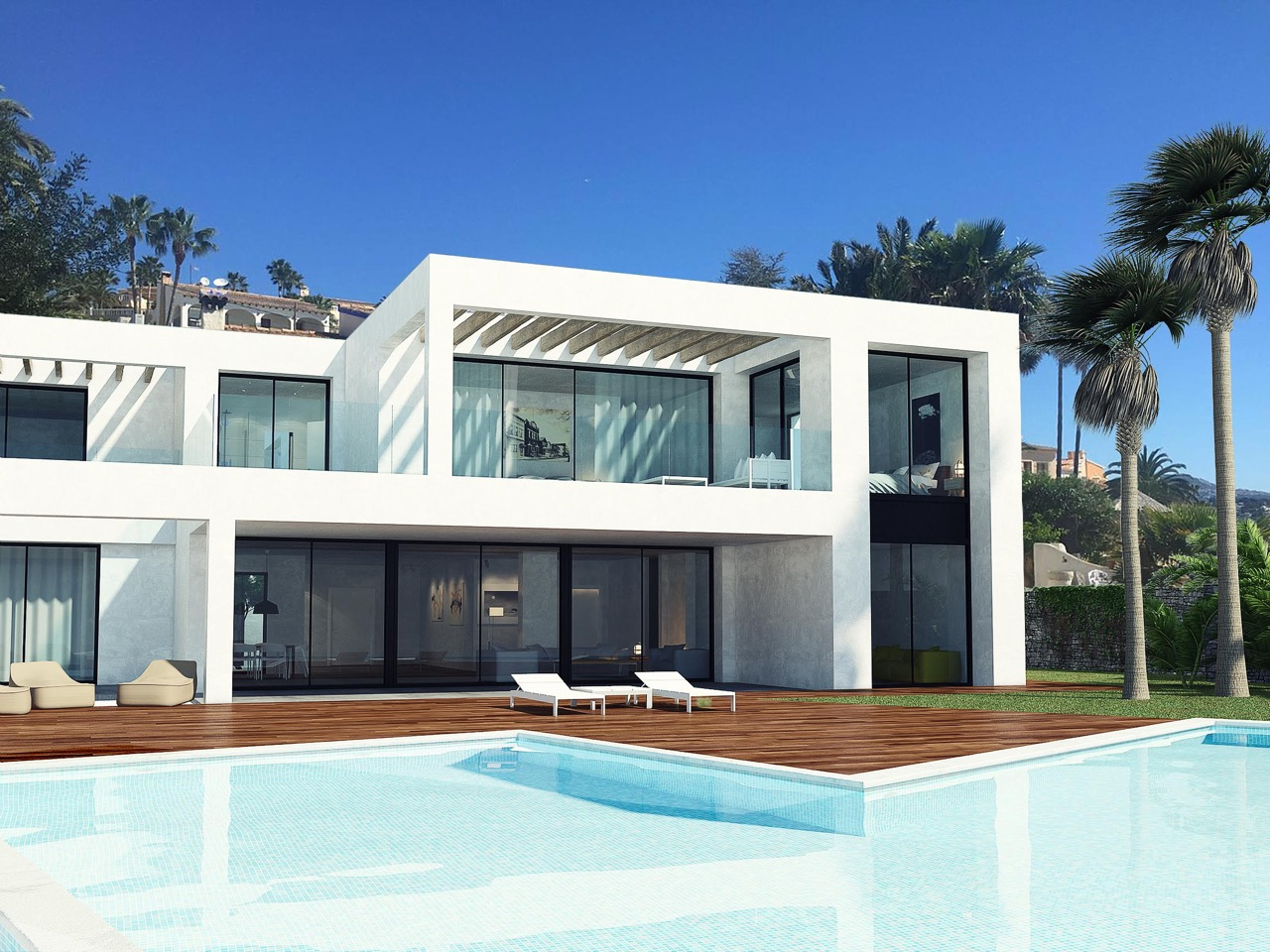 Wonderful first line Mediterranean style villa, located between the charming towns of Calpe and Mo,Spain