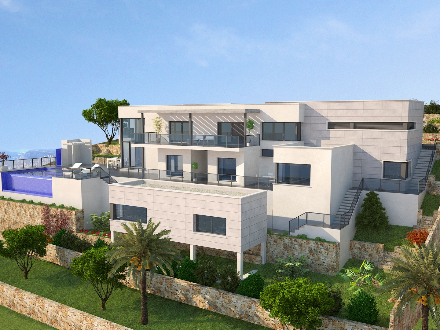 Luxurious project in Cumbre del Sol.The facade of the house is a combination of white re,Spain