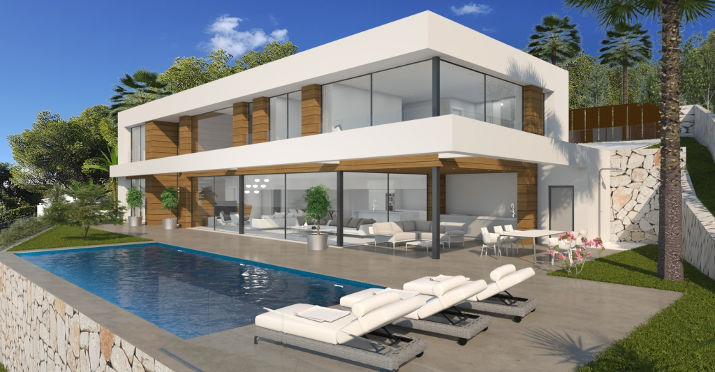 The villa is divided over 2 floors. The ground floor has a bright open plan living / dining area w,Spain