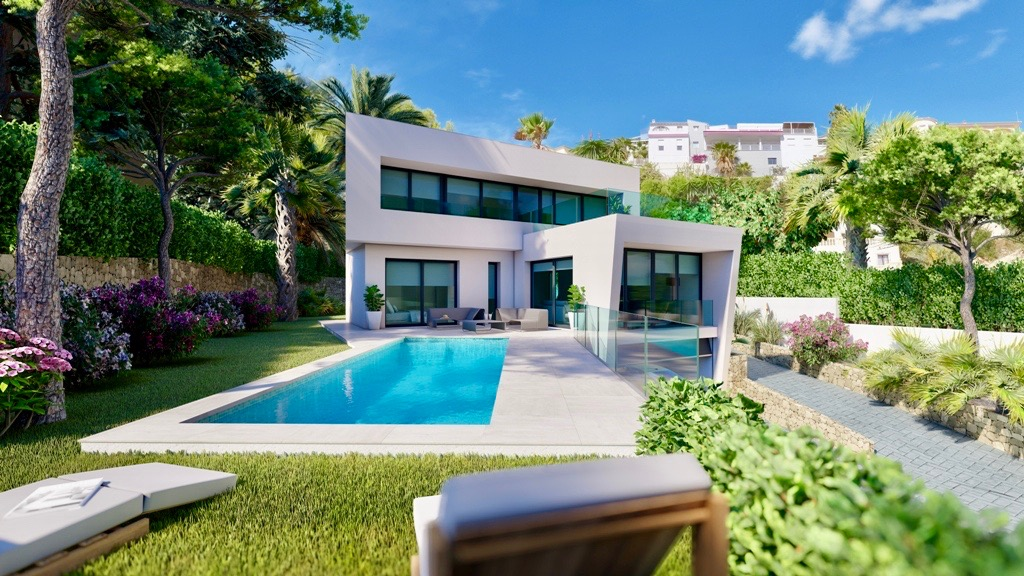 New construction project of a modern style villa in Moraira. The house will be built in the Benime, Spain